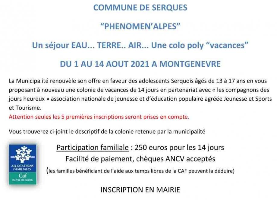 Annonce colonie 2021