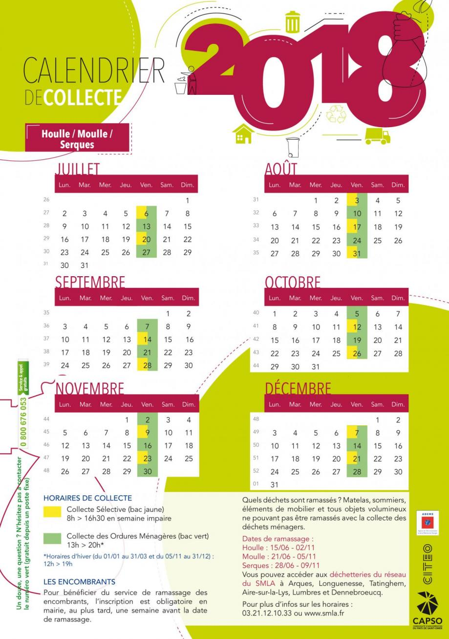 Calendrier houlle moulle serques 2018 2