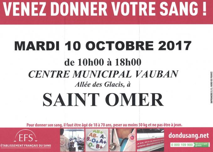 Don du sang 10 octobre 1