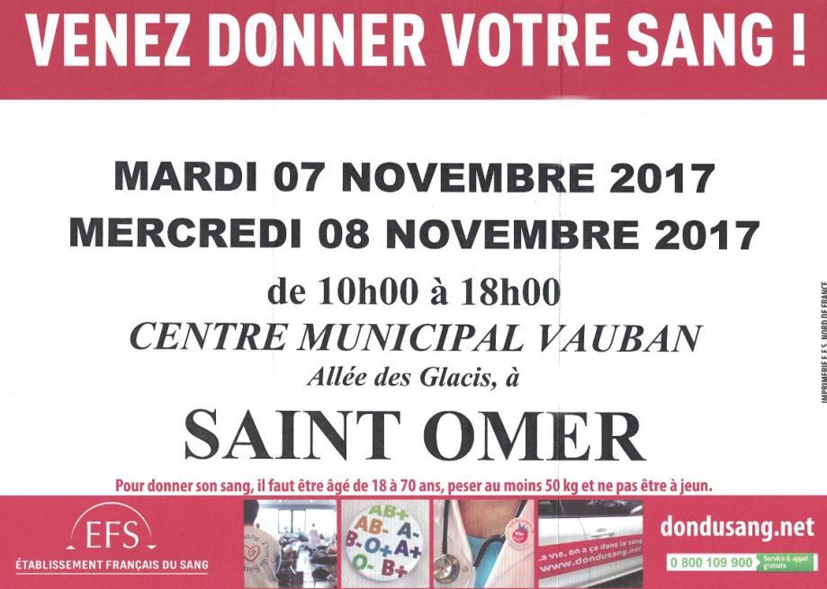 Don du sang 7 et 8 novembre 2017
