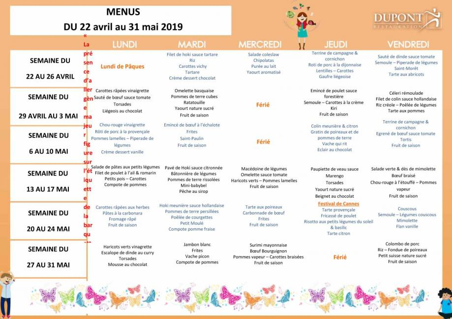 Menu scolaire du 22 avril au 31 mai 2019 serques